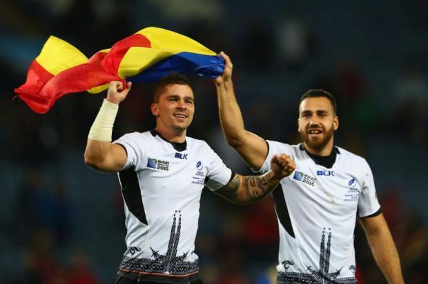 ROM vs CAN - RWC 2015 - Romanian players celebrating